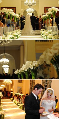 LOVE the callas floating above the other callas creating a stunning aisle!