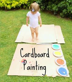 With the nice weather we've been having I've really enjoyed with coming up with some ways to do crafty things outside. We had actually been using a cardboard bo Outdoor Activities For Toddlers, Games For Toddlers, Infant Activities, Preschool Activities, 2 Year Old Activities, Toddler Painting Activities, Toddler Outdoor Games, Painting With Toddlers, Toddler Painting Ideas