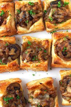 Gruyere mushroom & caramelized onion bites with sautéed crimini mushrooms, balsamic caramelized onions, and applewood smoked gruyere cheese | Littlespicejar.com