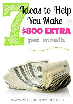 Looking for ways to make extra money monthly with a home business? Here are 7 easy ways to make $800 extra per month for your family. These are simple but effective money making ideas with thoughtful explanations so you can consider whether or not these are ways you could earn some money.