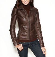 Women's Leather Jacket Handmade Brown Motorcycle Solid Lamb Leather Coat-W83…