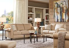 picture of Cindy Crawford Home Lusso Taupe Leather 2 Pc Living Room  from Leather Living Rooms Furniture