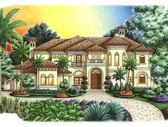 Elevation -  corner lot | House plans are Copyright © 2014 by our architects and designers