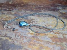 Long Beaded Labradorite Pendant Necklace in Sterling Silver Beautiful boho luxe jewellery by Saturnalia Jewellery. Beautiful Blue Flash Labradorite Teardrop Pendant. Double sided - Faceted on one side smooth on the other.