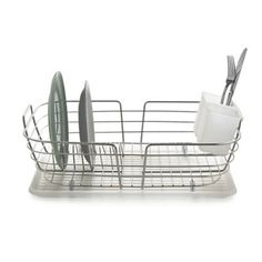 Stainless Steel Curved Dish Drying Rack with Drip Tray