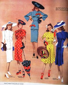 Sew Something Vintage: 1940s Fashion ----- love how hats were worn with everything