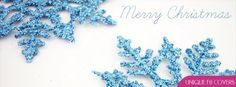 Merry Christmas With Blue Snow Flake Fb Profile Cover Facebook Cover