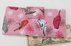 Handmade Wallet Womens Bifold Wallet Birds by LakesideQuiltsMaine, $42.00