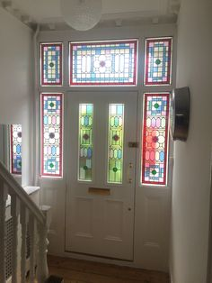 American Wooden Door With Stained Glass Design And Glided