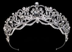 Our Majestic Royal Rhinestone Wedding and Quinceanera Tiara will be the perfect finishing touch to add glitz and glamour to your special day. Bridal Crown, Bridal Tiara, Headpiece Wedding, Bridal Headpieces, Bridal Jewelry, Bling Wedding, Rhinestone Wedding, Dream Wedding, Quinceanera Tiaras