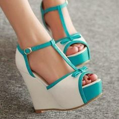 New Women's Wedge High Heels shoes Open Toe Sandals Ankle T-strap Pumps Bowknot