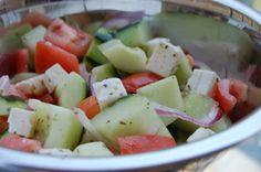 Cucumber tomato salad. Replace feta with mozzarella or provolone