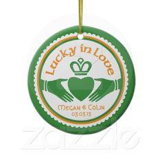 Lucky in Love Irish Claddagh Wedding Anniversary Ornament