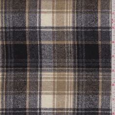 Camel brown, black, charcoal and white yarn dyed plaid. This light/medium weight wool and polyester blend fabric has a soft hand.Compare to $15.00/yd