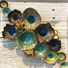 "Wall ceramic sculpture made of ceramics depicting corals and barnacles. Size: 12"" x 12"". Reclaimed Wood Wall Art; Ceramic Coral Reef Wall Application; Ocean Reef; Underwater Coral Reef Pieces are hand"