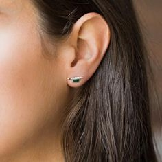 Vendetta Stud Earrings in Emerald - earrings - Lover's Tempo local eclectic Emerald Earrings, Stud Earrings, Emerald Blue, Beautiful Earrings, Swarovski Crystals, Bling, Sterling Silver, Vixen, Baguette