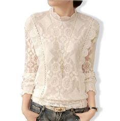 Women's Long Sleeves Lace Blouse
