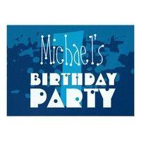 1st Birthday Modern Navy Blue White Metallic Personalized Invite. #birthday #kids #children #boys #girls #invite #invitation #personalize #custom #customize