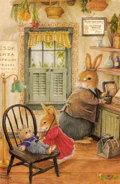 """The Future Doctor,"" charming illustration by Susan Wheeler. Susan Wheeler, Art And Illustration, Bunny Art, Cute Bunny, Beatrix Potter, Motifs Animal, Dibujos Cute, Rabbit Art, Get Well Cards"