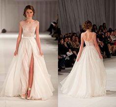 2014 Paolo Sebastian Sheer Beach Wedding Dresses A Line Scoop Cap Sleeves Beads…