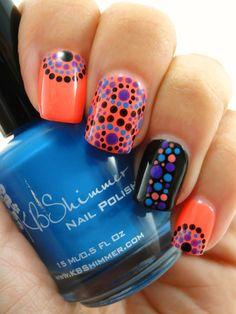 35 Creativos diseños de uñas con puntitos Get Nails, Love Nails, Pretty Nails, Nail Art Designs, Pretty Nail Designs, Dot Nail Art, Crazy Nails, Nagel Gel, Fabulous Nails