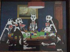 Skeleton Dogs Playing Poker