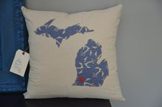 Navy/Beige Anchor Michigan Pillow Cover Any by HomeSweetMichigan