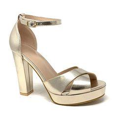 52b0db135374f5 Angkorly - Chaussure Mode Escarpin Sandale soirée Glamour Plateforme Femme  Lanières croisées Rayures Traits métallique Talon
