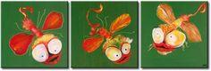 Obraz na ścianę do pokoju dziecka.Zabawne ważki obraz ręcznie malowany lub nadrukowany na płótnie tryptyk na ścianę dla dzieci