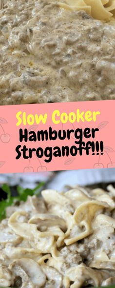 I've always loved the taste of a good Stroganoff, but I hated the expense and preparation of beef tips or steak or roast beef to make it. So I created my own creamy Stroganoff… Ingredients [ For 7 to 8 people ] [. Hamburger Stroganoff, Stroganoff Slow Cooker, Ground Beef Stroganoff, Slow Cooker Hamburger Recipes, Crock Pot Slow Cooker, Beef Recipes, Beef Tips, Cooker Recipes, Ground Beef Slow Cooker