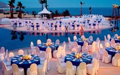 this makes me think we should get royal blue table cloths since we'll probably get the white chair covers.