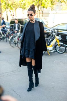 232 fall outfit ideas to try from the best street style at Paris Fashion Week: Sara Sampaio wears over-the-knee boots with an all-black outfit and choker