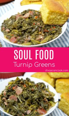 Soul food turnip greens simmered in savory chicken broth! Turnips full of garlic, onion and smoked turkey for the best flavor and no bitterness! Vegan Quesadilla, How To Cook Turnips, South Korean Food, Southern Recipes, Southern Food, Southern Dinner, Southern Quotes, Southern Women, Comfort Food