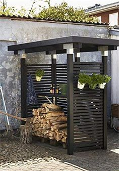 Post connector, for beams 12 cm x 12 cm, corner model, hot-dip galvanized post, build your own pergola Outdoor Firewood Rack, Firewood Shed, Firewood Storage, Back Gardens, Outdoor Gardens, Pergola Images, Free Standing Pergola, Wood Store, Yard Design