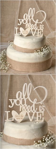 Rustic country laser cut wood wedding cake toppers @4LOVEPolkaDots