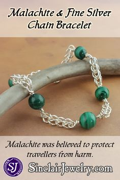Made from fine silver and malachite beads, this bracelet was inspired by extant examples from Classical Greece and Rome. I've updated the ancient design by using fine silver instead of gold. I made this bracelet the same way the old masters did, by fusing and shaping each link before weaving the chain and adding the beads. (scheduled via http://www.tailwindapp.com?utm_source=pinterest&utm_medium=twpin&utm_content=post161887353&utm_campaign=scheduler_attribution)