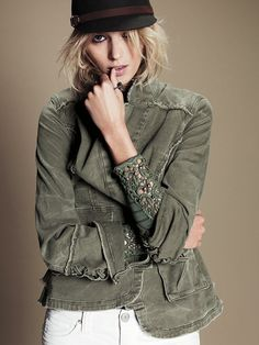 Free People Military Ruffle Twill Jacket with cotton Hard Candy Stripe Cuff Top in olive