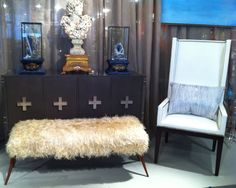 How stunning is the Alexander Flint Console from Design Legacy by Nancy Price?  Shown in Flint Gray with Zinderlux Gray Leather doors, the console also has lucite side panels. Yummy....!