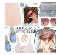 """""""Vintage Style Sunglasses"""" by voguefashion101 ❤ liked on Polyvore featuring Puma, Chloé, See by Chloé, Valentino, Gucci and vintage"""