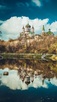 Nature Cathedral Church Pond Reflection Landscape #iPhone #6 #plus #wallpaper