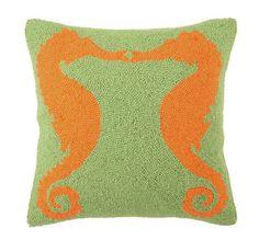 Facing Seahorses Hook Pillow