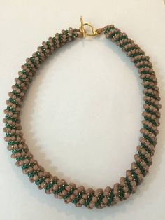 Beige Green and Light Golden Bead Weaving Necklace,With Miyuki Beads.Seed Bead Necklace..Beaded Jewelry Necklace