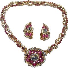 Vintage Braided Flower Fuchsia Necklace Combination with Earring Set