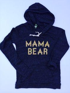 """Mama Bear"" Tri-Black long sleeve hoodie"