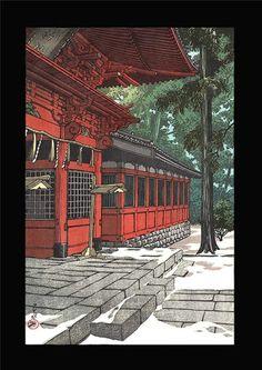 Kawase Hasui - Snow at Sannou - Japanese Woodblock Print