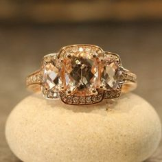 Three Stone Pink Morganite and Diamond Engagement Ring in 14k Rose Gold, Size 7