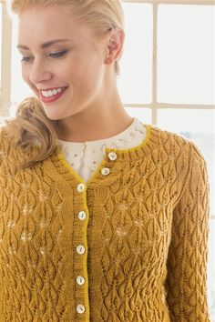 """Go There Now Rheya Cardigan Designer Maria Leigh Finished Size 34½ (38½, 42½, 46½, 50½)"""" bust circumference, buttoned. Cardigan shown measures 34½"""", modeled with ½"""" of positive ease. Yarn Cascade Yarns Heritage Solids (75% superwash merino wool, 25% nylon; 437 yd [400 m]/3½ oz [100 g]): #5643 sunflower (MC), 4 (4, 4, 5, 5) skeins;…"""