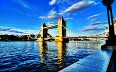 river thames london and clear sky over london bridge