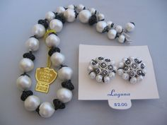 Vintage Laguna Simulated Perals 'The Crown Jewels Collection' Necklace and Earrings