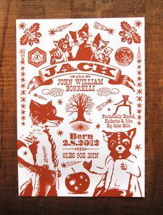Fantastic Mr Fox Custom Design Letterpress Birth Announcements. $5.00, via Etsy.